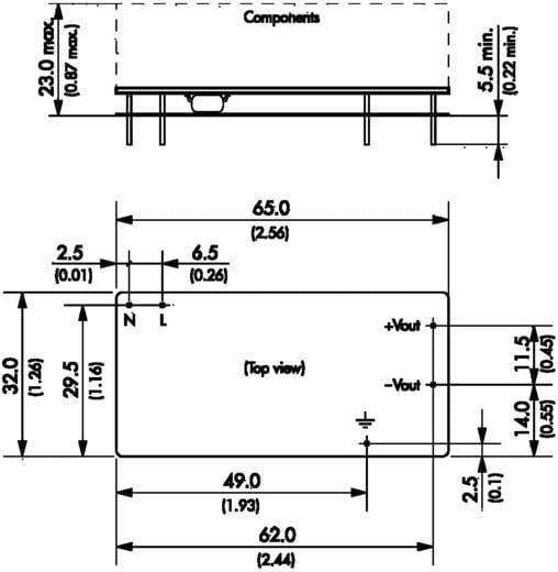TracoPower TOM 12124 AC/DC printnetvoeding 24 V/DC 0.5 A 25 W