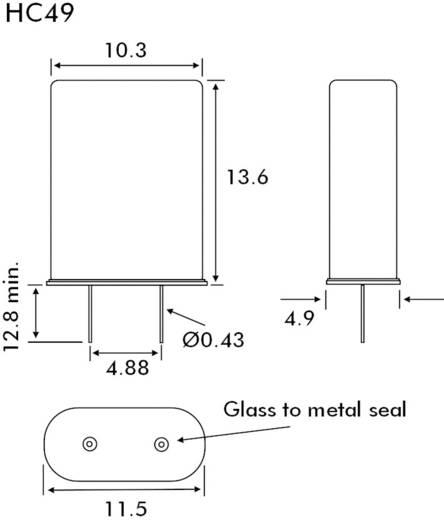 Kristal EuroQuartz QUARZ HC49 HC49 16.384 MHz 18 pF (l x b x h) 4.9 x 10.3 x 13.6 mm