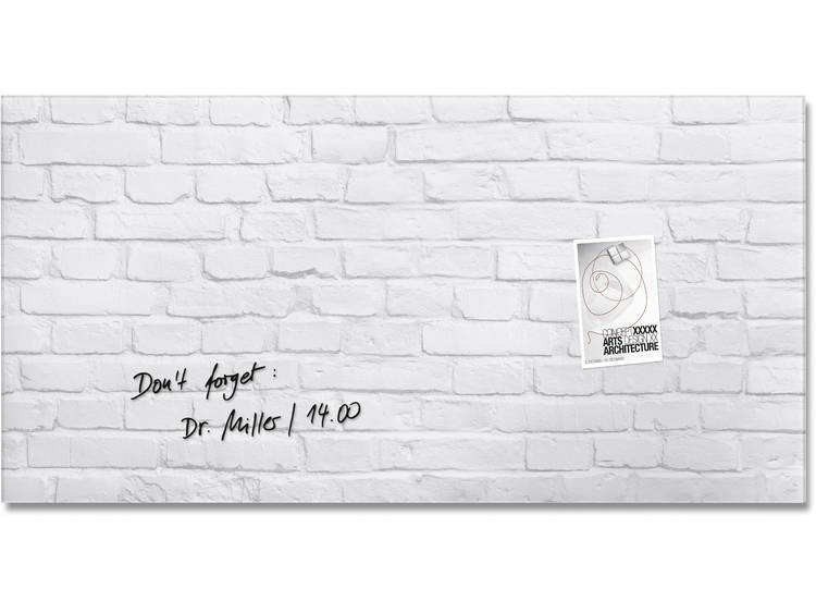Glasbord Sigel magnetisch 910x460x15mm klinker wit