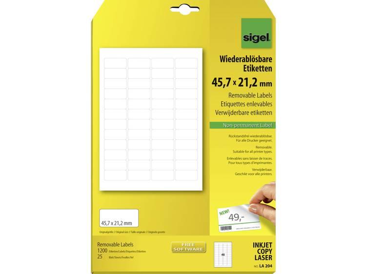 Sigel LA204 Etiketten (A4) 45.7 x 21.2 mm Papier Wit 1200 stuks Weer verwijderbaar Universele etiketten