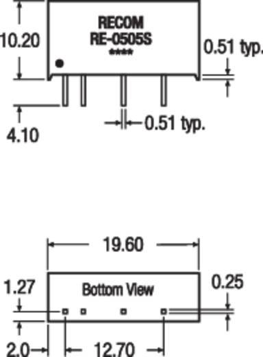 RECOM RE-2405S DC/DC-converter, print 24 V/DC 5 V/DC 200 mA 1 W Aantal uitgangen: 1 x