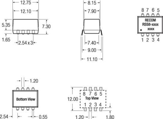 RECOM RSS8-1205 DC/DC-converter, SMD 12 V/DC 5 V/DC 200 mA 1 W Aantal uitgangen: 1 x
