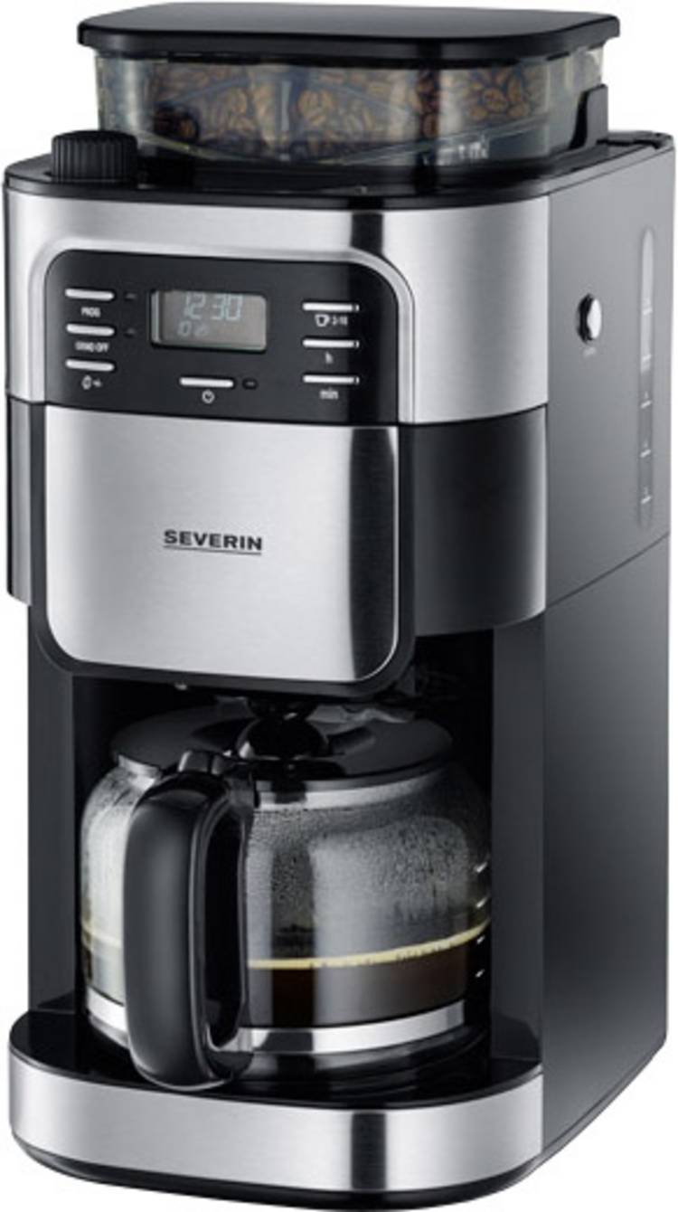 Image of Koffiezetapparaat Severin KA 4810 RVS (geborsteld), Zwart Capaciteit koppen=10 met koffiemolen, Timerfunctie