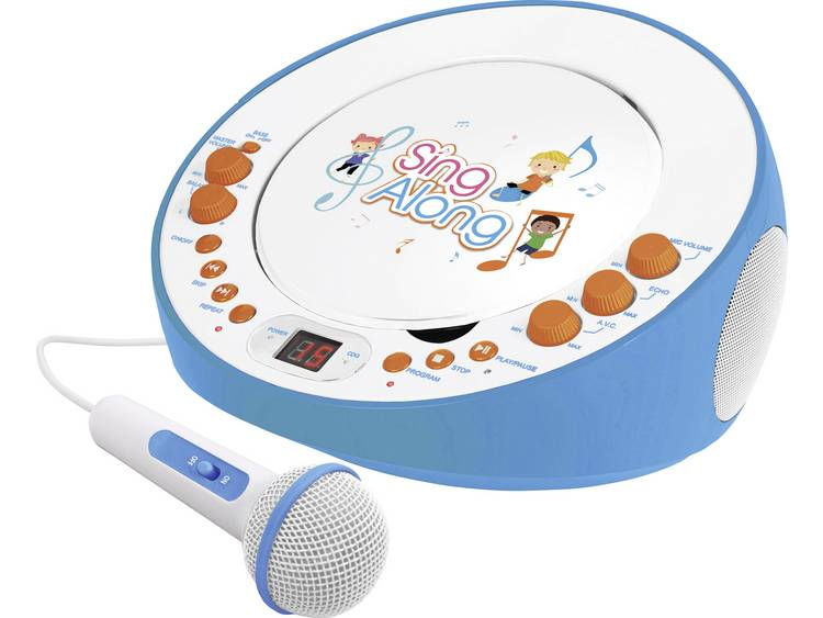 Dual CP 18 Kinder CD-speler AUX, CD Incl. karaoke-functie, Incl. microfoon Blauw