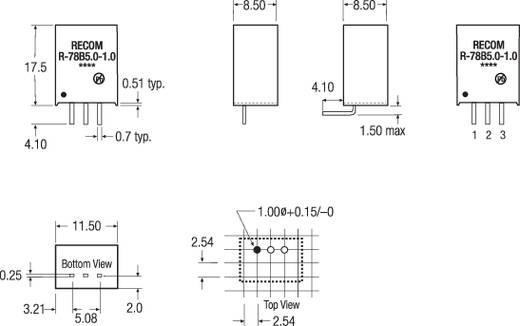 RECOM R-78HB3.3-0.5 DC/DC-converter, print 48 V/DC 3.3 V/DC 0.5 A 1.65 W Aantal uitgangen: 1 x