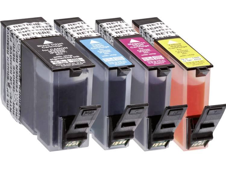 Basetech Inkt vervangt Canon PGI-5, CLI-8 Compatibel Combipack Zwart, Cyaan, Magenta, Geel BTC66 1504,0005-126