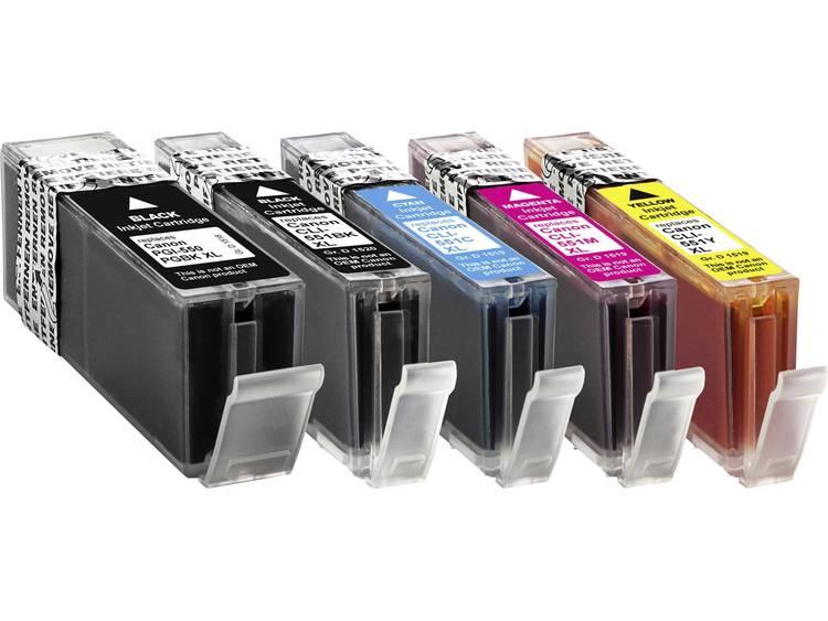 Basetech Inkt vervangt Canon PGI-550 XL, CLI-551 XL Compatibel Combipack Zwart, Foto zwart, Cyaan, Magenta, Geel BTC100 1519,0050-126