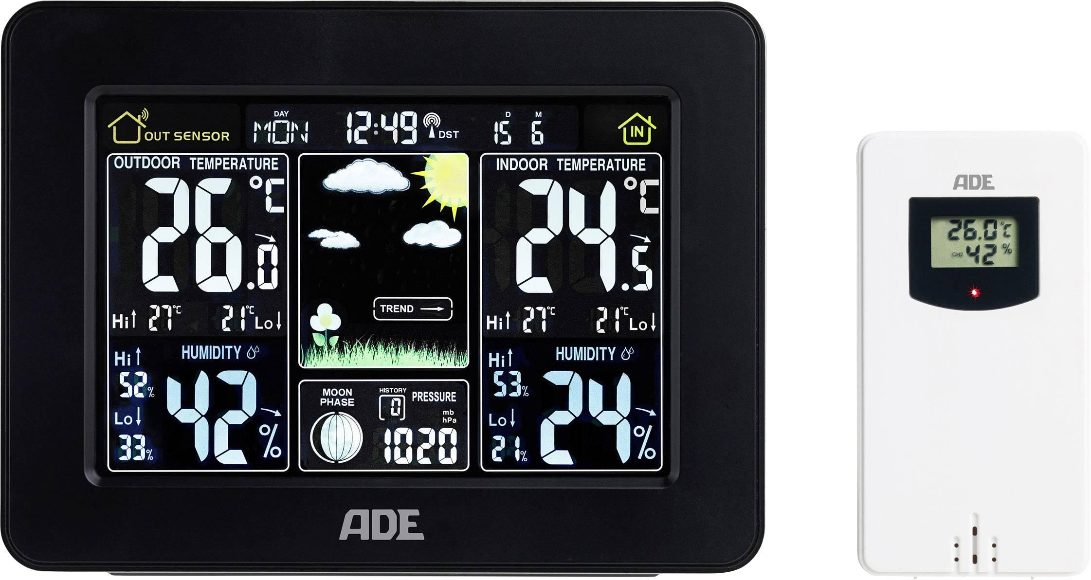 Conrad-ADE mit Außensensor WS 1503 Draadloos weerstation Voorspelling voor 1 dag-aanbieding