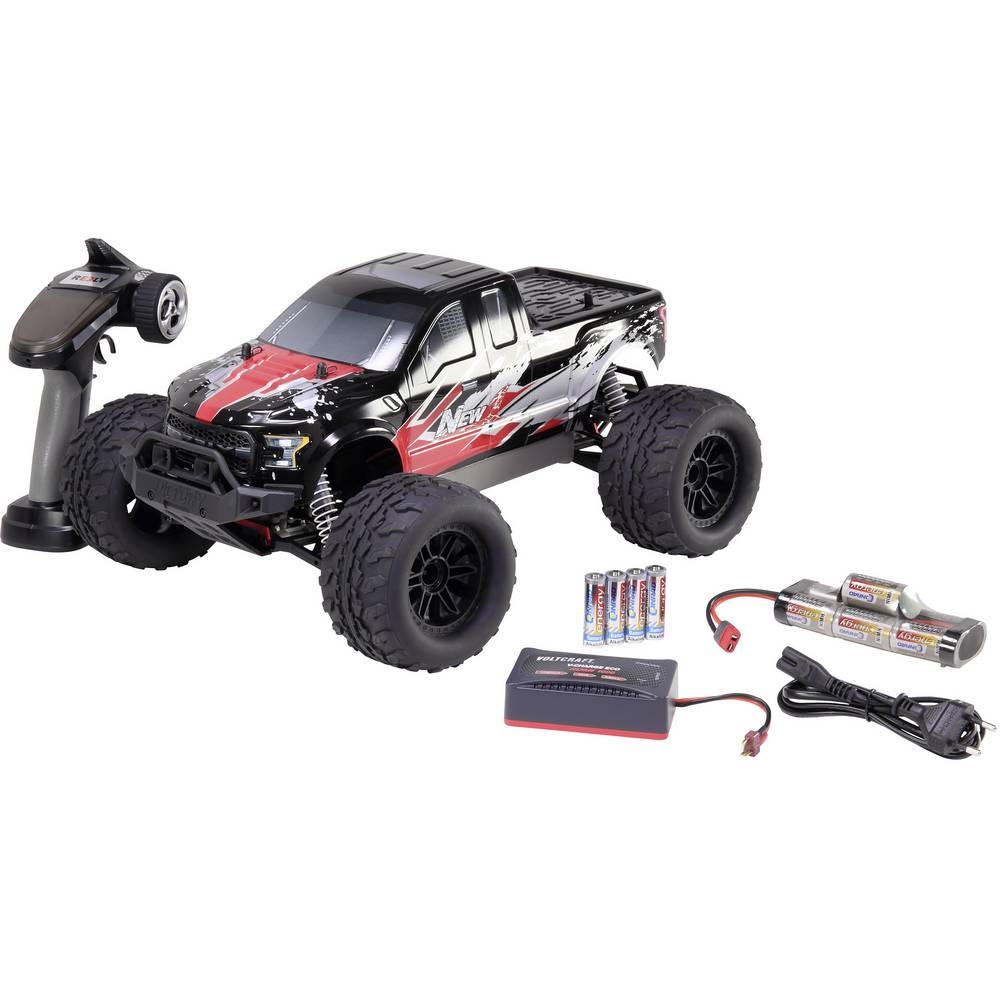Reely NEW1 1:10 Brushed RC auto Elektro Monstertruck 4WD 100% RTR 2,4 GHz Incl. accu, oplader en bat