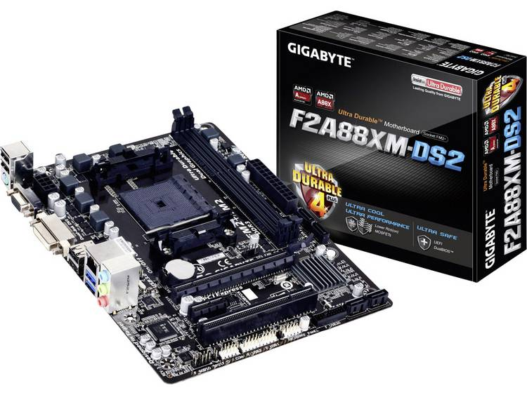 Gigabyte GA-F2A88XM-DS2 Moederbord Socket AMD FM2+ Vormfactor Micro-ATX Moederbord chipset AMD® A88X