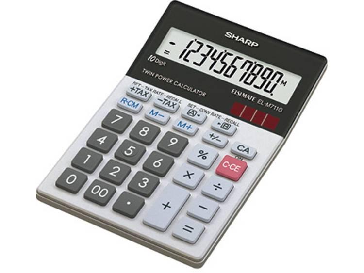 Bureaurekenmachine Sharp EL-M711G Zwart, Wit Aantal displayposities: 10 werkt op zonne-energie, werkt op batterijen