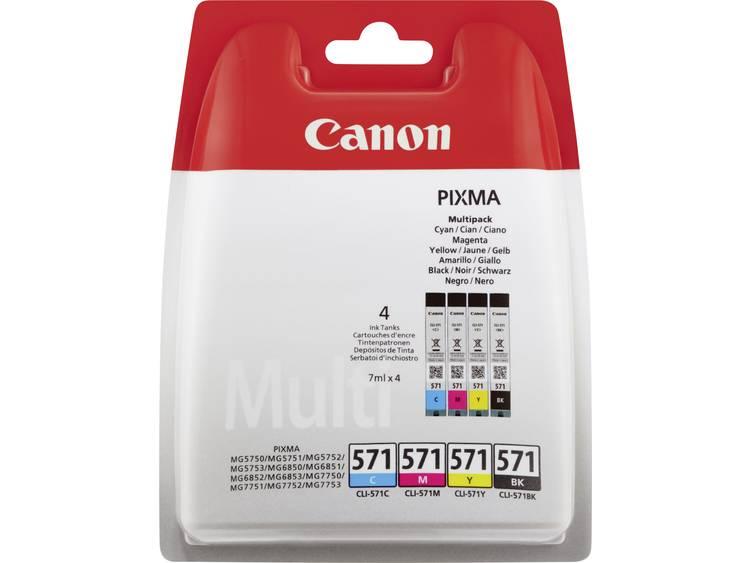 Canon Inkt CLI-571 BKCMY Origineel Combipack Foto zwart, Cyaan, Magenta, Geel 0386C005