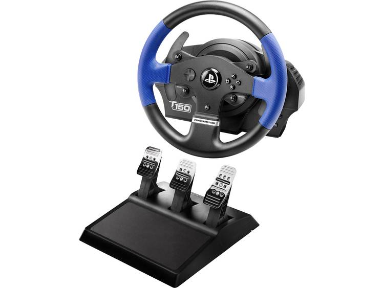 Stuur Thrustmaster T150 RS Force Feedback + T3PA USB 2.0 PlayStation 3, PlayStation 4, PC Zwart/blauw Incl. pedaal