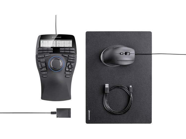 3Dconnexion SpaceMouse Enterprise Kit 3D-muis Laser Ergonomisch Zwart