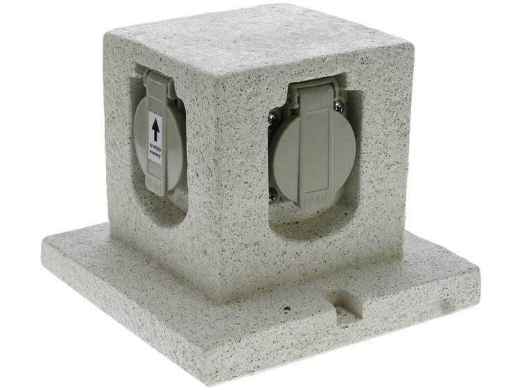 Tuinstekkerdoos Graniet-grijs (mat) Heitronic 36315