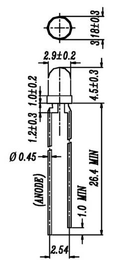 Everlight Opto 264-7UYC/S530-A2 LED bedraad Geel Rond 3 mm 110 mcd 40 ° 20 mA 2 V