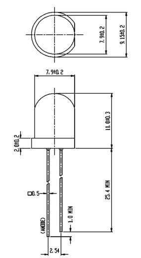 Everlight Opto 393UYD/S530-A3 LED bedraad Geel Rond 8 mm 125 mcd 60 ° 20 mA 2 V 1 stuks
