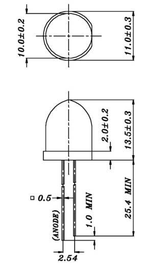 Everlight Opto 1363-2UYC/S530-A2 LED bedraad Geel Rond 10 mm 1370 mcd 6 ° 20 mA 2 V 1 stuks