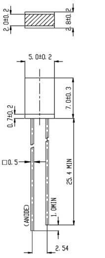 Everlight Opto 514UYD LED bedraad Geel Rechthoekig 2 x 5 mm 2.3 mcd 180 ° 10 mA 2 V