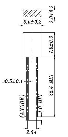 Everlight Opto 523-2SDRD/S530-A3 LED bedraad Rood Rechthoekig 2 x 5 mm 16 mcd 120 ° 20 mA 2 V