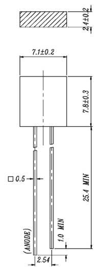 Everlight Opto 573SDRD/S530-A3 LED bedraad Rood Rechthoekig 2.4 x 7.1 mm 8 mcd 180 ° 10 mA 2 V 1 stuks