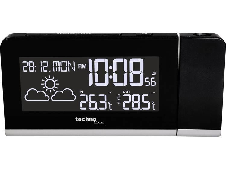Zendergestuurd Wekker Digitaal Techno Line WT 539 Funk-Projektionswecker Zwart