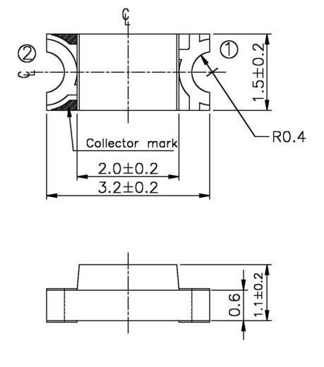Everlight Opto PT 15-21C/TR8 Fototransistor 1206 1200 nm