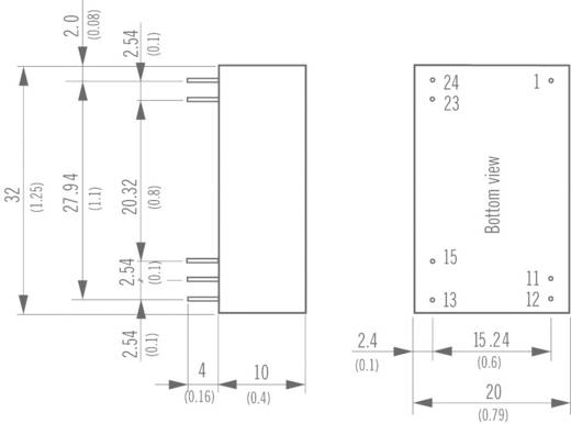 TracoPower THB 3-2423 DC/DC-converter, print 24 V/DC 15 V/DC, -15 V/DC 100 mA 3 W Aantal uitgangen: 2 x