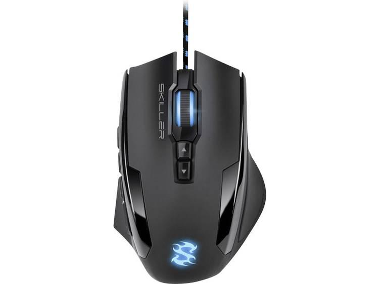 Sharkoon Skiller SGM1 USB game-muis Optisch Verlicht, Geïntegreerd profielgeheugen, Gewichtsreductie Zwart, Blauw