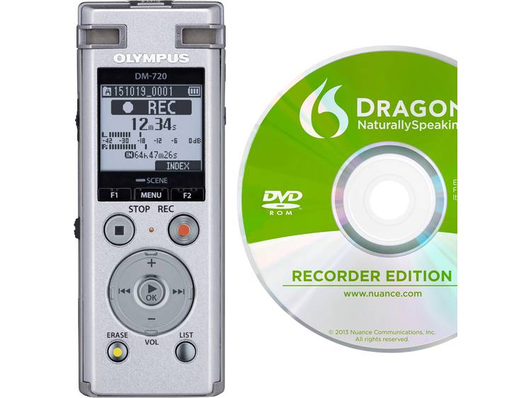 Digitaal dicteerapparaat Olympus DM-720 + Dragon Naturally Speaking 12 Opnameduur (max.) 985 h Zilver incl. spraakherkenningssoftware