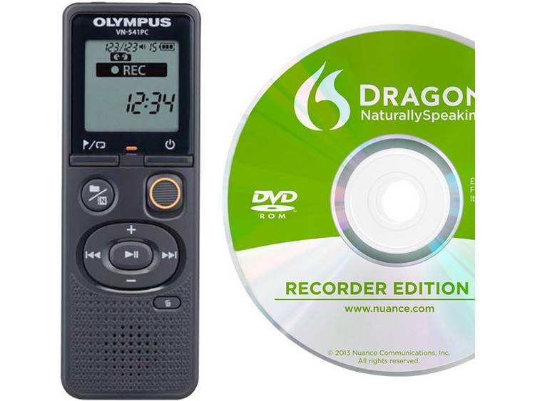 Digitaal dicteerapparaat Olympus VN-541PC + Dragon Naturally Speaking 12 Opnameduur (max.) 2080 h Zwart incl. spraakherkenningssoftware