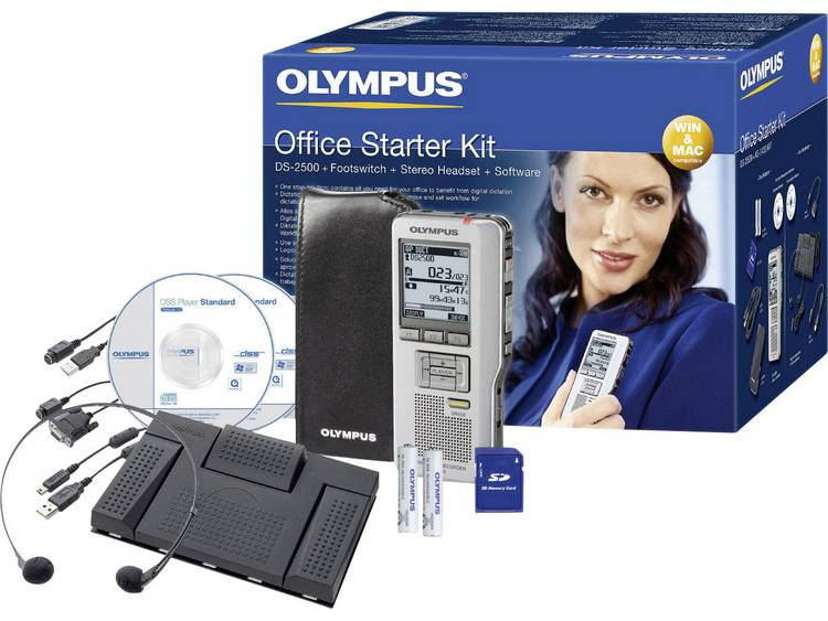 Digitaal dicteerapparaat Olympus DS-2500 Office Starter Kit Opnameduur (max.) 303 h Zilver incl. tas, incl. 2 GB SD-kaart, incl. voetschakelaar, incl.