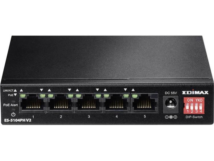 EDIMAX Edimax ES-5104PH V2 Netwerk switch RJ45 5 poorten 100 Mbit/s PoE-functie