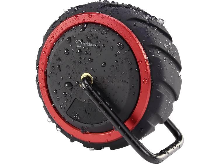Renkforce AdventureWheel1 Bluetooth luidspreker Handsfree-functie, Spatwaterdicht, AUX Zwart-rood