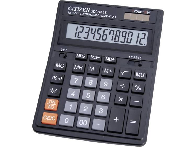 Bureaurekenmachine Citizen Office SDC-444S Zwart Aantal displayposities: 12 werkt op zonne-energie, werkt op batterijen