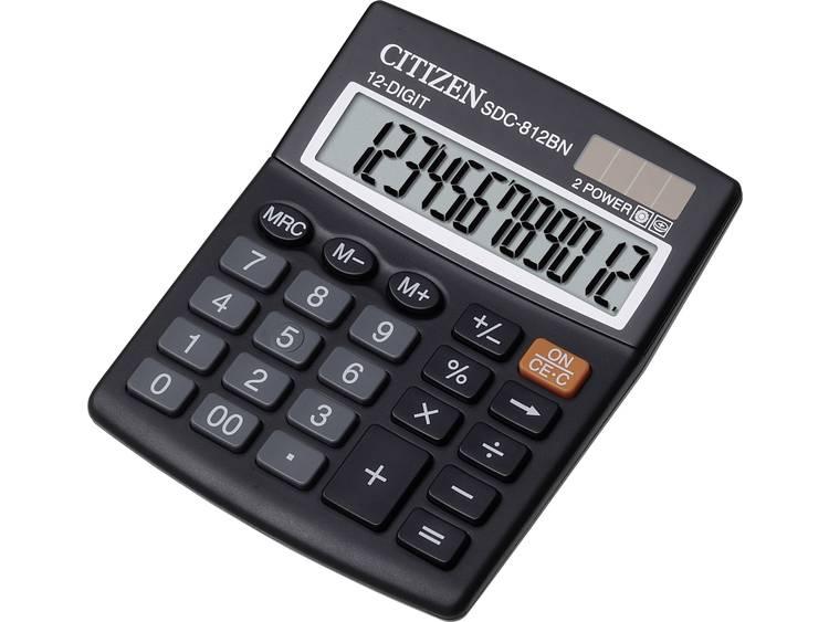 Bureaurekenmachine Citizen Office SDC-812BN Zwart Aantal displayposities: 12 werkt op zonne-energie, werkt op batterijen