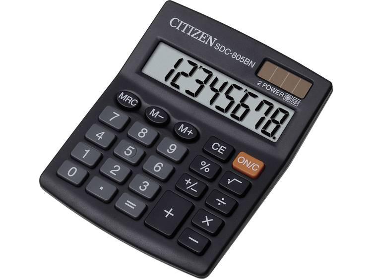 Bureaurekenmachine Citizen Office SDC-805BN Zwart Aantal displayposities: 8 werkt op zonne-energie, werkt op batterijen
