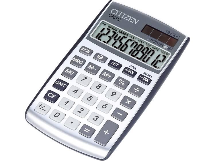 Zakrekenmachine Citizen Office CPC 112WB Zilver Aantal displayposities: 12 werkt op zonne-energie, werkt op batterijen