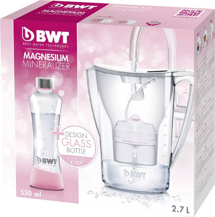 Image of Waterfilter BWT PENGUIN Promo Glasflasche 0815046 2.7 l Wit