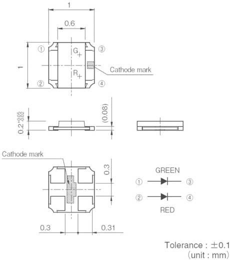 ROHM Semiconductor SML-P24MUW SMD-LED meerkleurig 0404 Groen, Rood 21 mcd, 52 mcd 50 ° 20 mA 2.2 V, 2.1 V