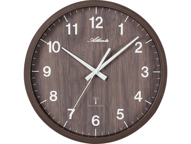 Atlanta Uhren 4438 20 Wandklok Zendergestuurd 300 mm Noten