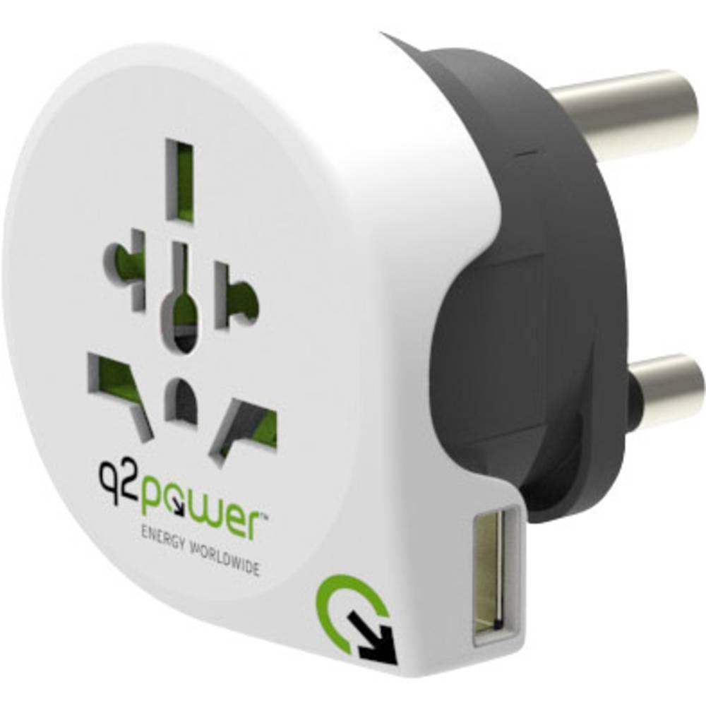Q2 Power 1.100230 Reisstekker Welt nach Süd Afrika mit USB