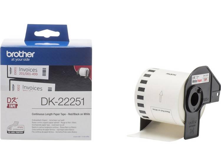 Brother Etiketten (rol) 62 mm x 15.24 m Papier Wit 1 rollen Permanent DK22251 DK-22251 Universele etiketten