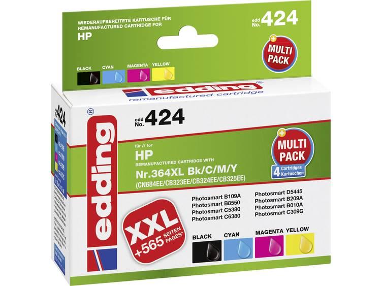 Edding Inkt vervangt HP 364, 364XL Compatibel Combipack Zwart, Cyaan, Magenta, Geel EDD-424 EDD-424