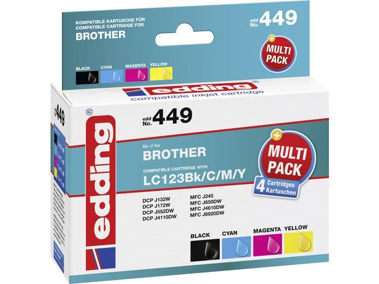 Edding Inkt vervangt Brother LC-123 Compatibel Combipack Zwart, Cyaan, Magenta, Geel EDD-449 EDD-449