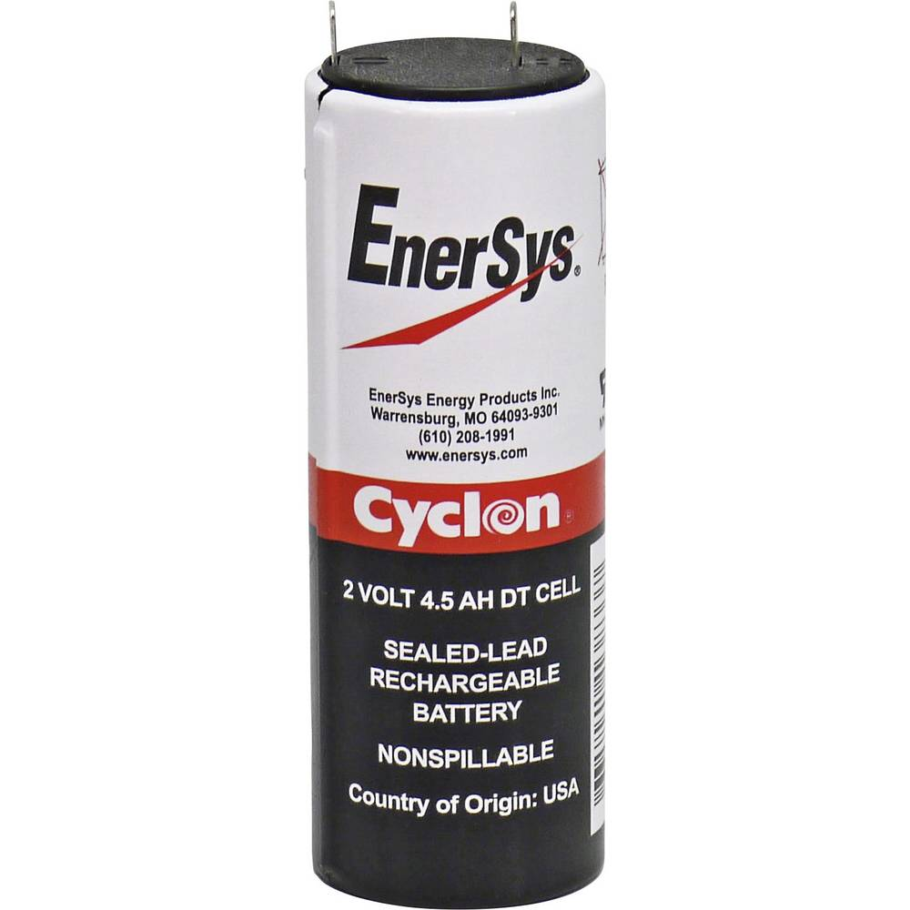 EnerSys Hawker Cyclon DT 0860-0004 Blybatteri 2 V 4.5 Ah Bly AGM (Ø x H) 34 mm x 103 mm Stickkontakt 4.8 mm Underhållsfri, Lindad cell konstruktion,
