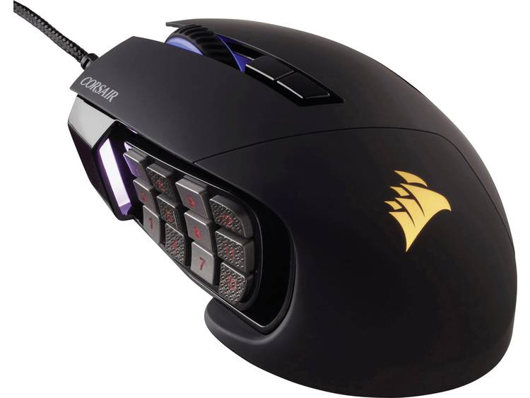 Corsair ScimitarP RGB USB game-muis Optisch Verlicht, Geïntegreerd profielgeheugen Zwart