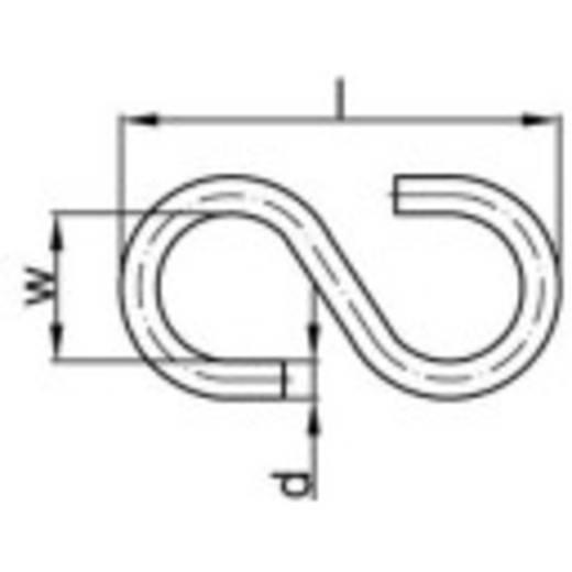 TOOLCRAFT S-haak 40 mm Galvanisch verzinkt staal 100 stuks