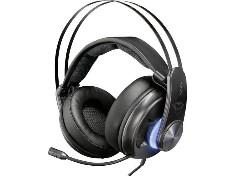 Gaming headset 3.5 mm jackplug, USB Kabelgebonden Trust GXT 383 Dion Over Ear Zwart