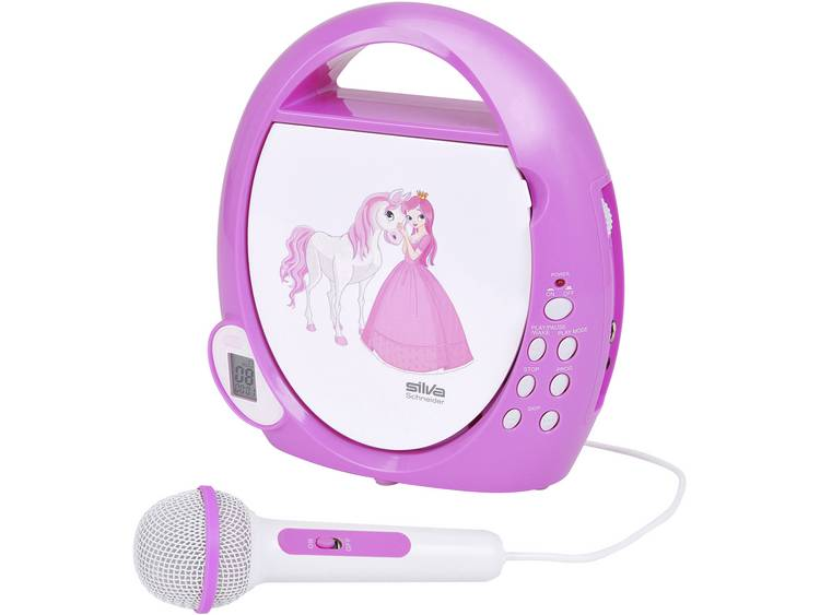 Silva Schneider Junior Mini Kinder CD-speler AUX, CD Incl. microfoon Wit-roze